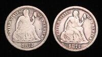 1872 AND 1875 SEATED LIBERTY DIMES