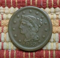 1853 BRAIDED HAIR LARGE CENT, EXTRA FINE  DETAILS