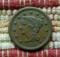 1857 BRAIDED HAIR LARGE CENT, EXTRA FINE     LARGE DATE VARIETY