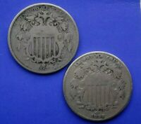A  PAIR OF SHIELD NICKELS, 1867 & 1882    GREAT DEAL FOR BOTH