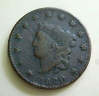 1820 MATRON HEAD LARGE CENT, VF DETAILS    BETTER SMALL DATE VARIETY
