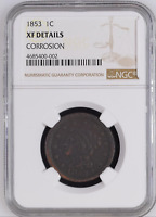 1853 P BRAIDED HAIR LARGE CENT NGC EXTRA FINE  DETAILS CORROSION 1C PENNY