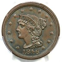 1846 N-3 R-2 PCGS MINT STATE 63 BN SMALL DATE BRAIDED HAIR LARGE CENT COIN 1C