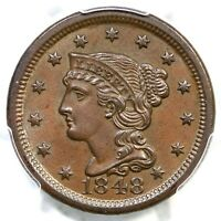 1848 N-10 R-3 PCGS MINT STATE 62 BN CAC BRAIDED HAIR LARGE CENT COIN 1C