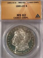 1881 CC MORGAN SILVER $1 DOLLAR MINT STATE 62 CAMEO DMPL ANACS CERTIFIED