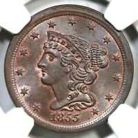 1855 C-1 NGC MINT STATE 64 BN BRAIDED HAIR HALF CENT COIN 1/2C