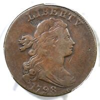 1798 S 169 R 3 PCGS F 15 DRAPED BUST LARGE CENT COIN 1C