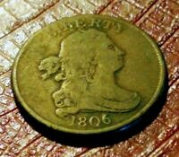 1806 DRAPED BUST HALF-CENT, SMALL 6 WITH STEMS  VARIETY