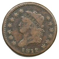 1812 S-289 LG DATE CLASSIC HEAD LARGE CENT COIN 1C