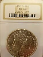 1902-O MORGAN SILVER DOLLAR  NGC MINT STATE 64