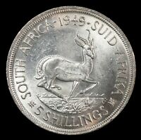 SOUTH AFRICA 1949 5 SHILLINGS CROWN   WORLD SILVER COIN