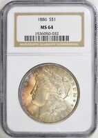 1886 MORGAN DOLLAR - MINT STATE 64 NGC - TONED