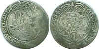 1664 AT POLAND JOHANN CASIMIR JAN II 1649-1668 SILVER 6 GROSCHEN KM 91