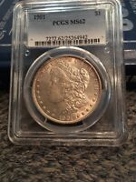 1901 MORGAN SILVER DOLLAR .MINT STATE 62.LESS THAN 100 GRADED HIGHER.GOOD STRIKE ON EAR
