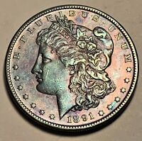 1891-S MORGAN SILVER DOLLAR BU UNC MONSTER COLOR TONED COIN KEY DATE 6