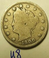 1900 US LIBERTY HEAD 5 CENT NICKEL UNITED STATES COIN U8