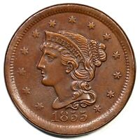 1855 N 3 UPRIGHT 5'S BRAIDED HAIR LARGE CENT COIN 1C