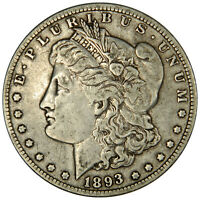 1893-O MORGAN DOLLAR   ORIGINAL UNCLEANED VF  FINE INVDJ5