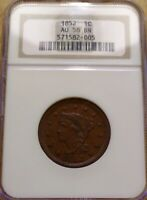 1852 BRAIDED HAIR LARGE COPPER CENT NGC AU 58 BN