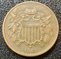 VERY  1864 TWO CENT PIECE SMALL MOTTO XF
