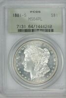 1881-S MORGAN SILVER $1 DOLLAR PCGS MINT STATE 64PL OLD GREEN TAG GEM BLAST WHITE BEAUTY