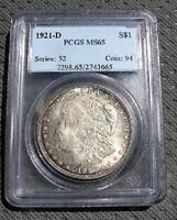 1921 D BU MORGAN DOLLAR VAM 1F  PCGS MINT STATE 65 RAINBOW TONING ONLY 1 FINER KNOWN