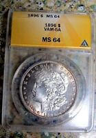 1896 P BU MORGAN DOLLAR VAM 6A DOUBLED 18-6, PITTED WING ULTRA  ONLY 2 KNOWN