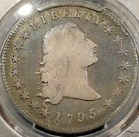 1795 FLOWING HAIR SILVER DOLLAR - PCGS F15, RAINBOW TONED