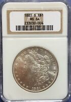 1881-S MINT STATE 64 MORGAN SILVER DOLLAR - GRADED BY NGC