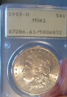 1903 O MORGAN SILVER DOLLAR - PCGS MINT STATE 61, OLD RATTLER, , UNDERGRADED? 2329
