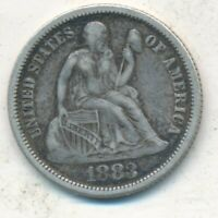 1883 SEATED LIBERTY SILVER DIME-  CIRCULATED SILVER DIME-SHIPS FREE