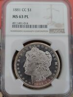 1881-CC MORGAN SILVER DOLLAR NGC MINT STATE 63 PL COLOR ON REVERSE