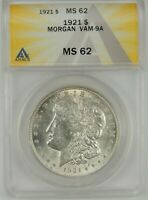 1921-P $1 MORGAN SILVER DOLLAR ANACS MINT STATE 62 6109725 VAM-9A