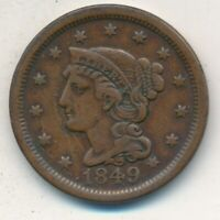 1849 BRAIDED HAIR LARGE CENT-  CIRCULATED LARGE CENT-SHIPS FREE INV:7