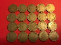 20 OLD US LIBERTY NICKLES, LOW GRADE, A001