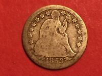 1853 US SEATED LIBERTY SILVER DIME WITH ARROWS, AVERAGE GRADE, L 126