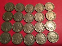 20 BUFFALO NICKELS CIRCULATED US COINS WITH DATES FROM TEENS AND 20S, LOT A9
