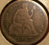 SEATED DIME 1887, UNITED STATES SILVER 10 CENT PIECE, AVERAGE GRADE L 313