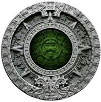 2019 2 OZ SILVER $2 NIUE AZTEC CALENDAR ANTIQUE FINISH COIN.