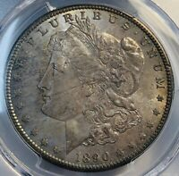1890-S MORGAN SILVER DOLLAR. PCGS MINT STATE 65. TONED