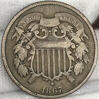 1867 2C TWO CENT PIECE     GREAT LOOKING US COPPER COIN