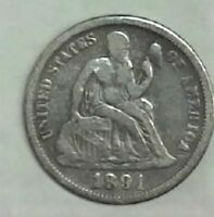 EARLY YEAR 1891 SEATED DIME BUY IT NOW