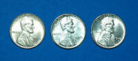 1943P/1943D/1943S LINCOLN WHEAT STEEL CENTS  UNGRADED BUT APPEAR AU