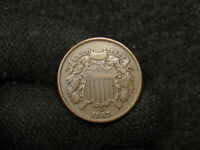 1867 TWO CENTS  ORIGINAL VF COIN