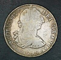 1789 8 REALES MEXICO SPANISH COLONY CARLOS IV SILVER COIN ME