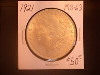 1921 $ MORGAN SILVER DOLLAR,  BU, SALE
