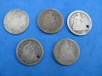 LOT 5 SEATED LIBERTY DIMES 21842,1853,1889,1891