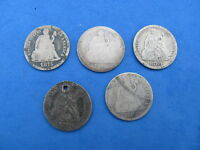 LOT 5 SEATED LIBERTY DIMES 1875,1877,1883,1889,1890