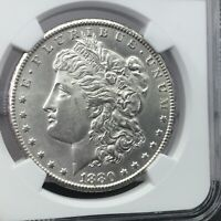 1880-CC MORGAN SILVER DOLLAR NGC UNC DETAILS CLEANED -  LOW MINTAGE - ESTATE
