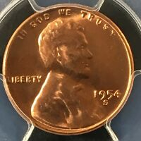 1954-S 1C RD LINCOLN WHEAT CENT PCGS MINT STATE 65RD 35758178